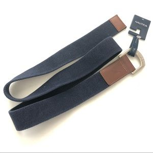 Nautica Blue Fabric D-Ring Silver Buckle Belt  40